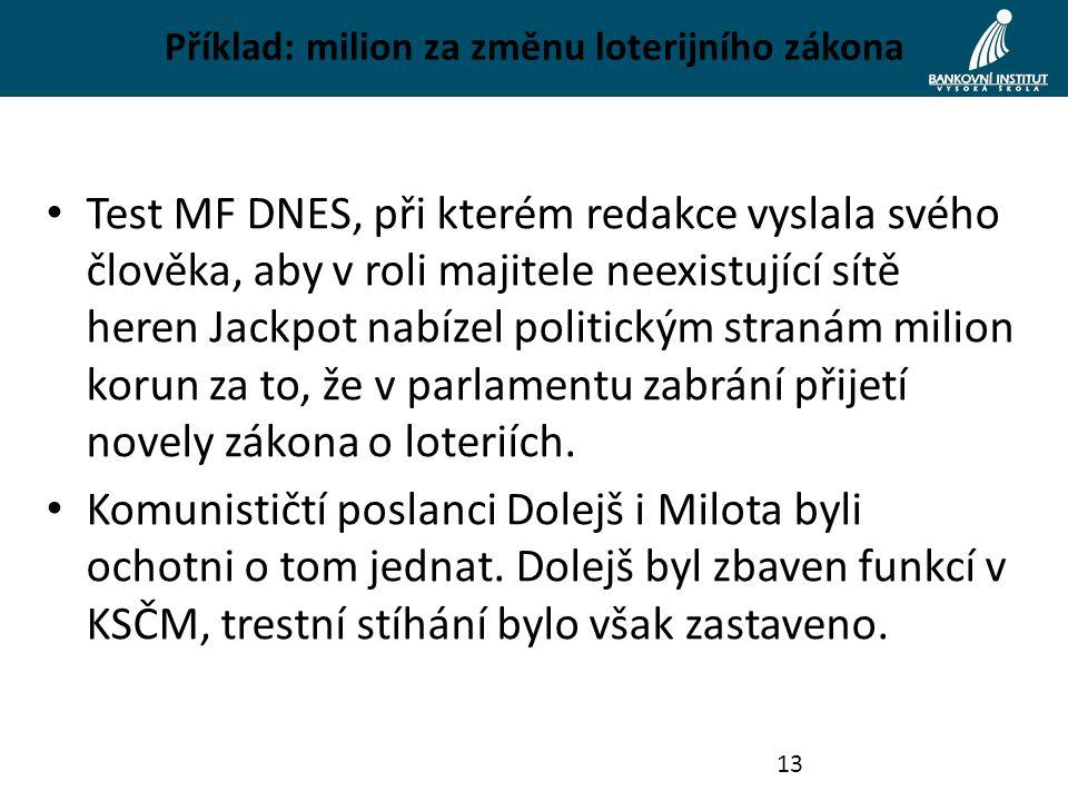Příklad: milion za změnu loterijního zákona Test MF DNES, při kterém redakce vyslala svého člověka, aby v roli majitele neexistující sítě heren Jackpo