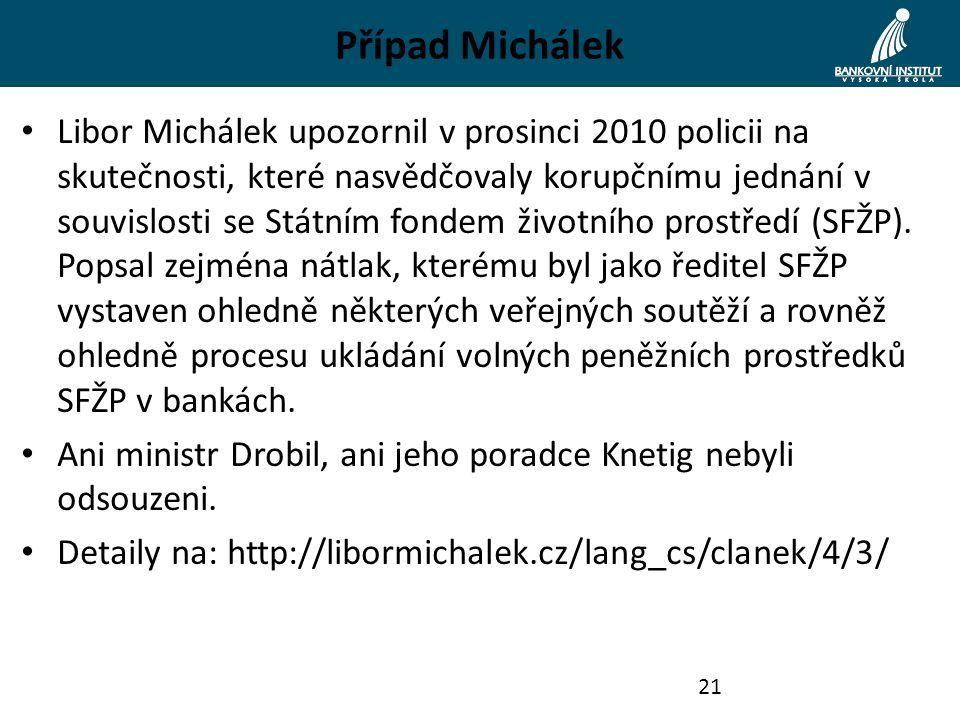 Případ Michálek Libor Michálek upozornil v prosinci 2010 policii na skutečnosti, které nasvědčovaly korupčnímu jednání v souvislosti se Státním fondem