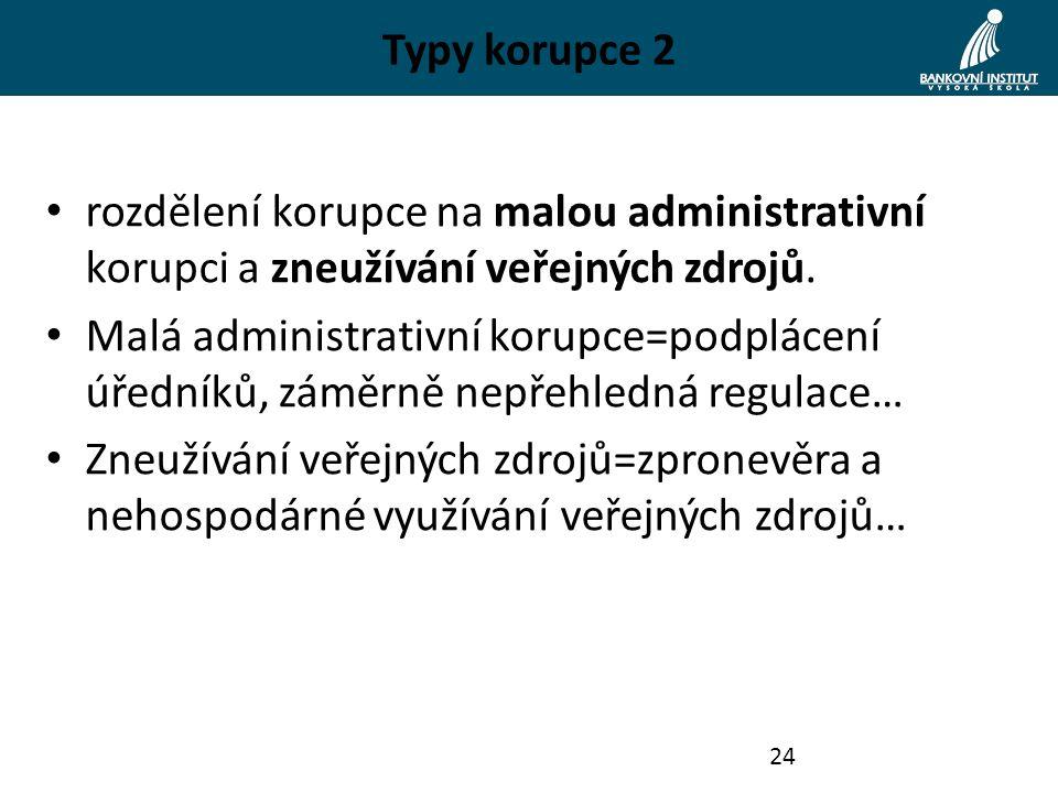 Typy korupce 2 rozdělení korupce na malou administrativní korupci a zneužívání veřejných zdrojů. Malá administrativní korupce=podplácení úředníků, zám