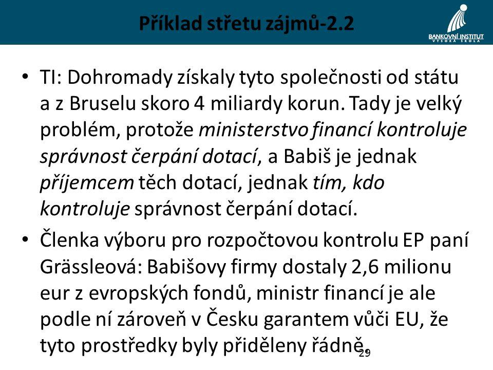 Příklad střetu zájmů-2.2 TI: Dohromady získaly tyto společnosti od státu a z Bruselu skoro 4 miliardy korun. Tady je velký problém, protože ministerst