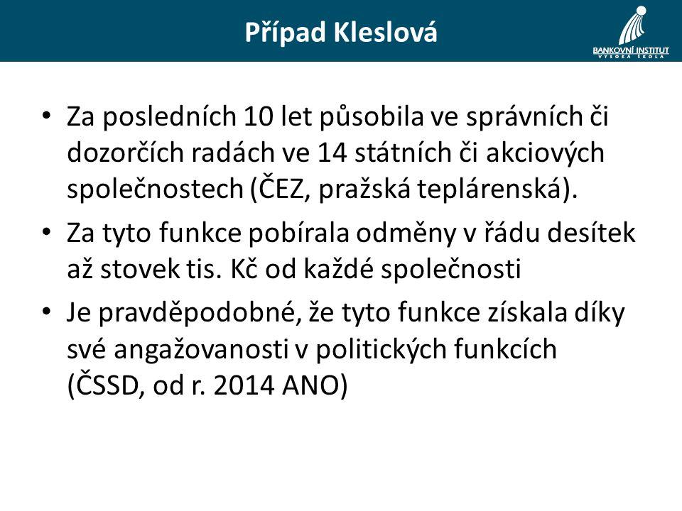 Případ Kleslová Za posledních 10 let působila ve správních či dozorčích radách ve 14 státních či akciových společnostech (ČEZ, pražská teplárenská). Z