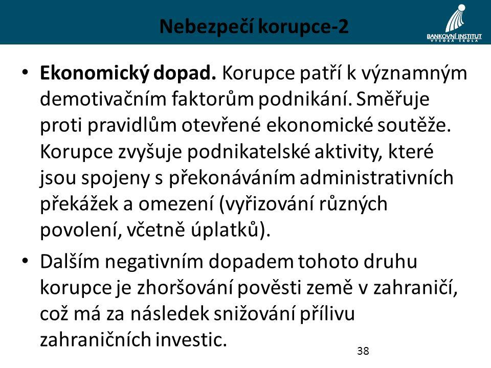Nebezpečí korupce-2 Ekonomický dopad. Korupce patří k významným demotivačním faktorům podnikání. Směřuje proti pravidlům otevřené ekonomické soutěže.