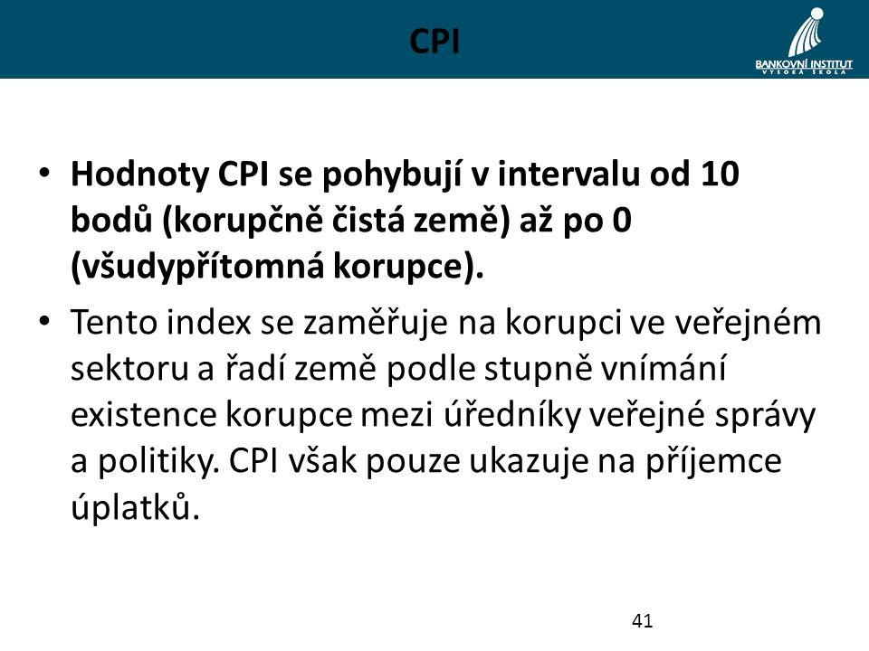 CPI Hodnoty CPI se pohybují v intervalu od 10 bodů (korupčně čistá země) až po 0 (všudypřítomná korupce). Tento index se zaměřuje na korupci ve veřejn