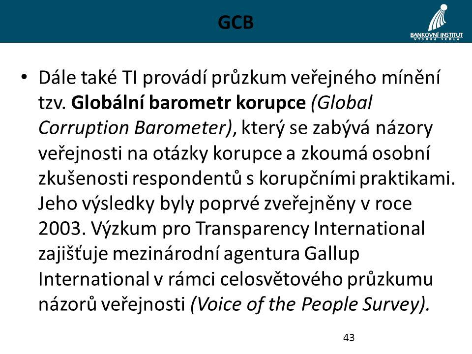 GCB Dále také TI provádí průzkum veřejného mínění tzv. Globální barometr korupce (Global Corruption Barometer), který se zabývá názory veřejnosti na o