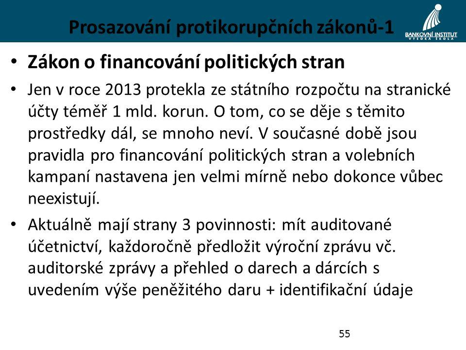 Prosazování protikorupčních zákonů-1 Zákon o financování politických stran Jen v roce 2013 protekla ze státního rozpočtu na stranické účty téměř 1 mld