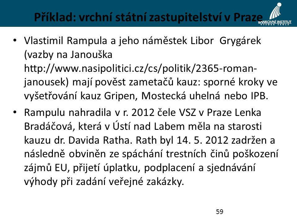 Příklad: vrchní státní zastupitelství v Praze Vlastimil Rampula a jeho náměstek Libor Grygárek (vazby na Janouška http://www.nasipolitici.cz/cs/politi