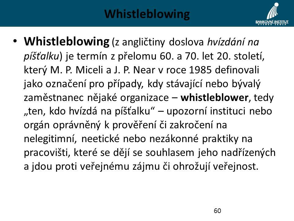 Whistleblowing Whistleblowing (z angličtiny doslova hvízdání na píšťalku) je termín z přelomu 60. a 70. let 20. století, který M. P. Miceli a J. P. Ne