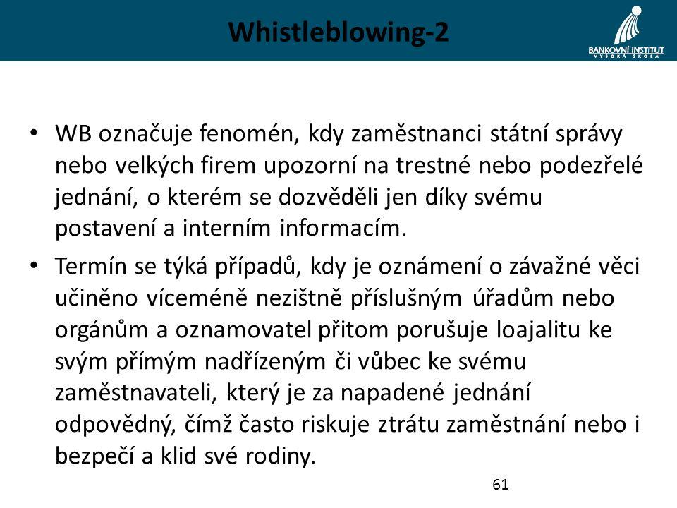 Whistleblowing-2 WB označuje fenomén, kdy zaměstnanci státní správy nebo velkých firem upozorní na trestné nebo podezřelé jednání, o kterém se dozvědě
