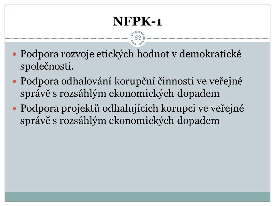 NFPK-1 Podpora rozvoje etických hodnot v demokratické společnosti. Podpora odhalování korupční činnosti ve veřejné správě s rozsáhlým ekonomických dop