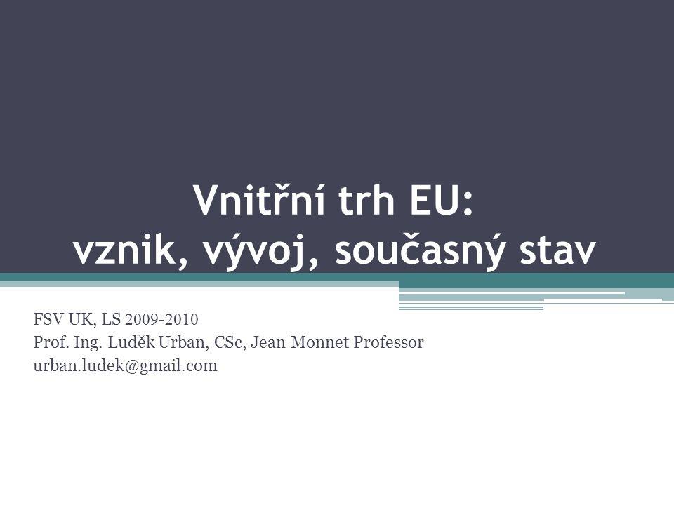 Vnitřní trh EU: vznik, vývoj, současný stav FSV UK, LS 2009 - 2010 Prof.