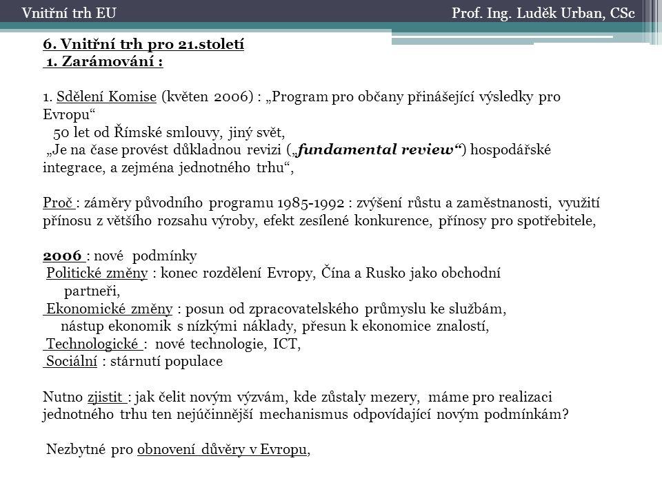 Prof.Ing. Luděk Urban, CScVnitřní trh EU 6. Vnitřní trh pro 21.století 1.