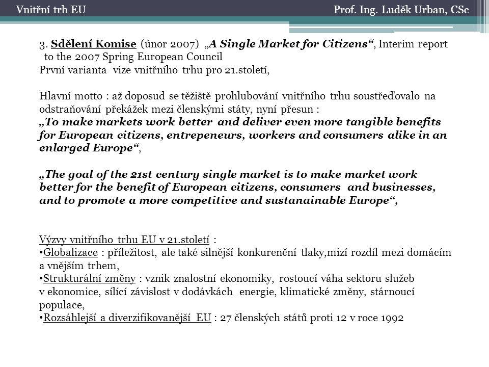 Prof. Ing. Luděk Urban, CScVnitřní trh EU 3.