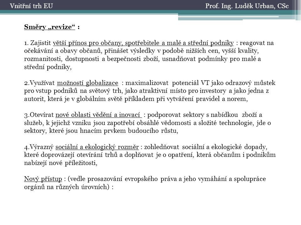 """Prof.Ing. Luděk Urban, CScVnitřní trh EU Směry """"revize : 1."""