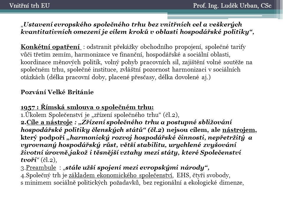 Prof.Ing. Luděk Urban, CScVnitřní trh EU 5. Vnitřní trh po roce 2000 1.
