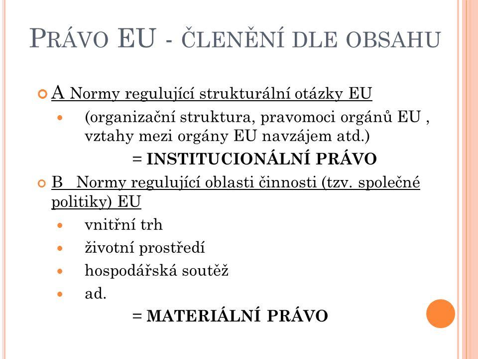 P RÁVO EU - ČLENĚNÍ DLE OBSAHU A Normy regulující strukturální otázky EU (organizační struktura, pravomoci orgánů EU, vztahy mezi orgány EU navzájem atd.) = INSTITUCIONÁLNÍ PRÁVO B Normy regulující oblasti činnosti (tzv.