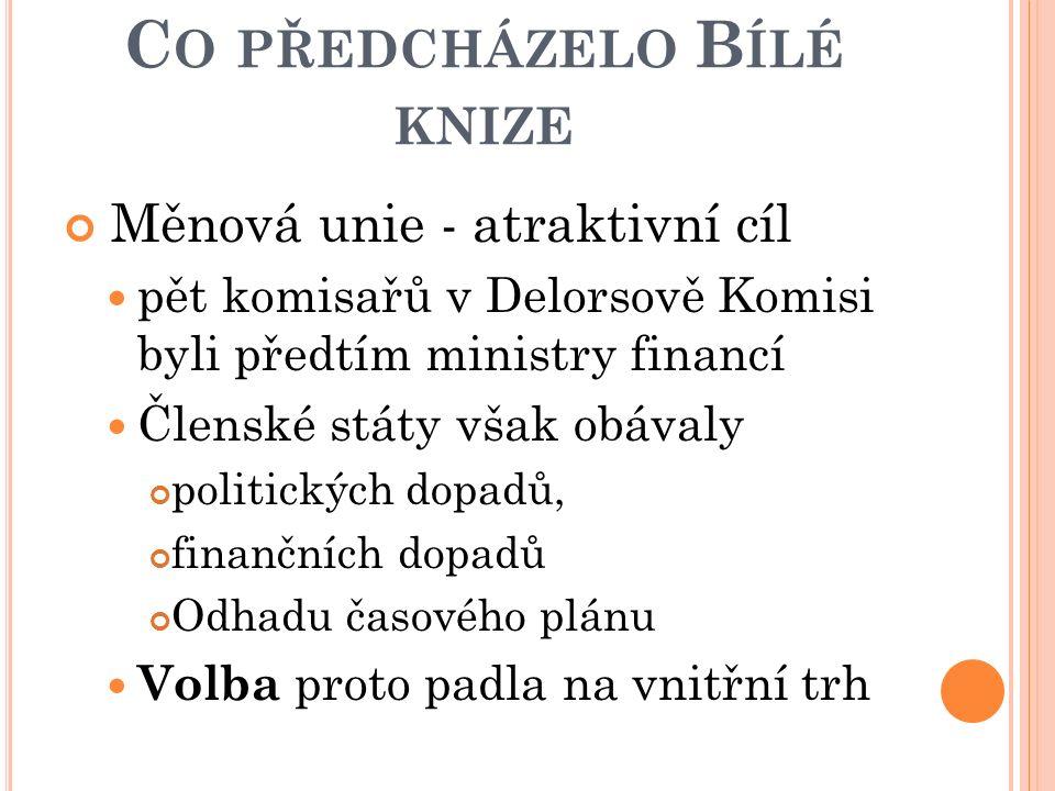 C O PŘEDCHÁZELO B ÍLÉ KNIZE Měnová unie - atraktivní cíl pět komisařů v Delorsově Komisi byli předtím ministry financí Členské státy však obávaly poli