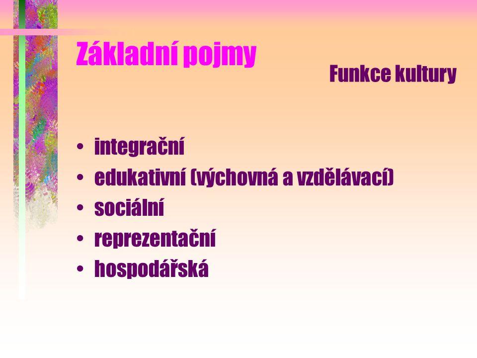 Základní pojmy integrační edukativní (výchovná a vzdělávací) sociální reprezentační hospodářská Funkce kultury