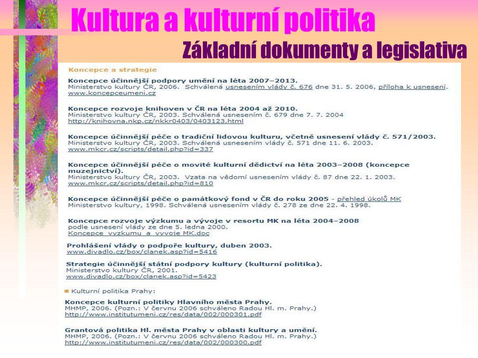 Kultura a kulturní politika Základní dokumenty a legislativa