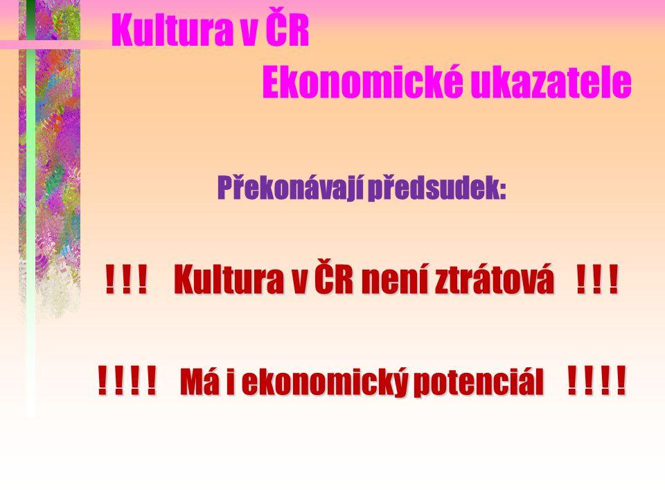 Ekonomické ukazatele Překonávají předsudek: . Kultura v ČR není ztrátová .