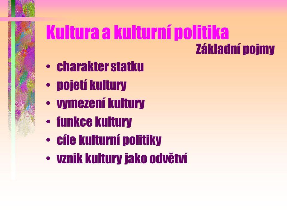 Kultura a kulturní politika charakter statku pojetí kultury vymezení kultury funkce kultury cíle kulturní politiky vznik kultury jako odvětví Základní pojmy