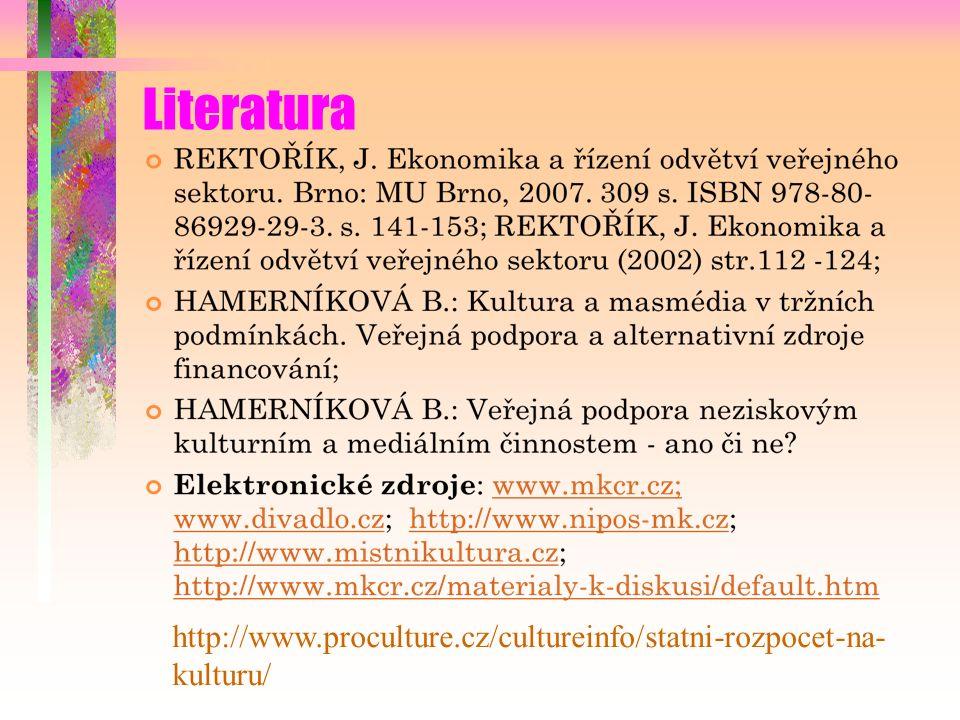 Literatura http://www.proculture.cz/cultureinfo/statni-rozpocet-na- kulturu/