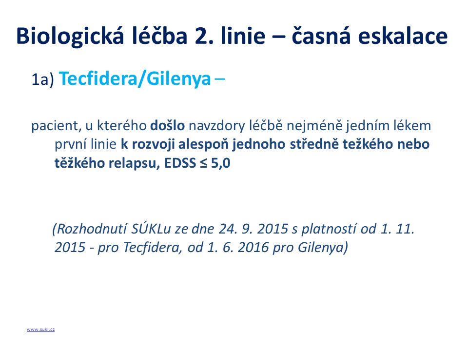 Biologická léčba 2. linie – časná eskalace 1a) Tecfidera/Gilenya – pacient, u kterého došlo navzdory léčbě nejméně jedním lékem první linie k rozvoji