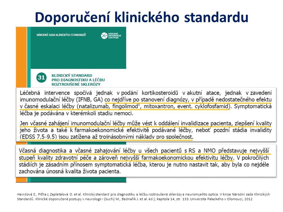 Doporučení klinického standardu Havrdová E., Piťha J, Zapletalová O. et al. Klinický standard pro diagnostiku a léčbu roztroušené sklerózy a neuromyel