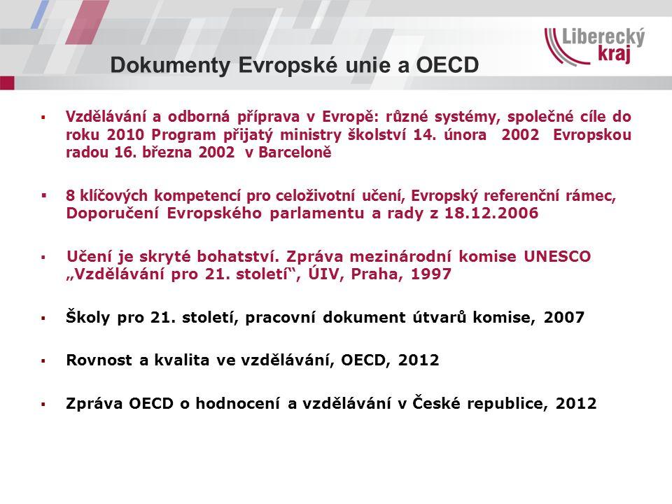 Dokumenty Evropské unie a OECD ▪ Vzdělávání a odborná příprava v Evropě: různé systémy, společné cíle do roku 2010 Program přijatý ministry školství 14.