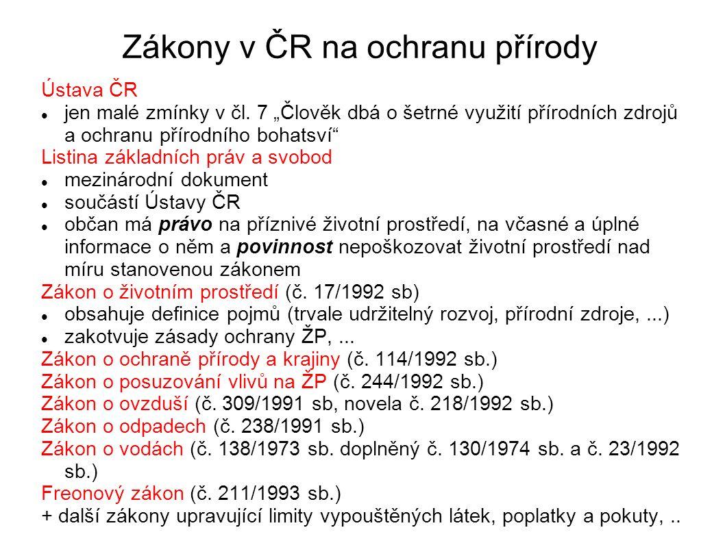 Zákony v ČR na ochranu přírody Ústava ČR jen malé zmínky v čl.