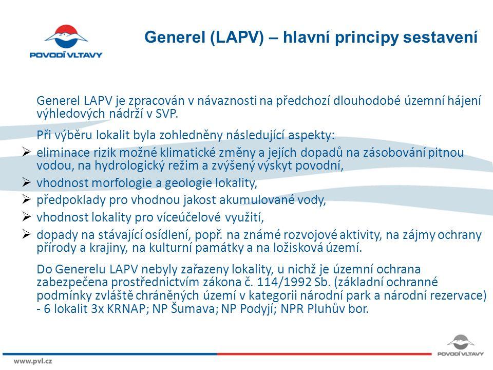 8/9/12 Generel (LAPV) – hlavní principy sestavení Generel LAPV je zpracován v návaznosti na předchozí dlouhodobé územní hájení výhledových nádrží v SVP.