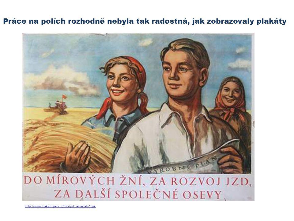 Práce na polích rozhodně nebyla tak radostná, jak zobrazovaly plakáty http://www.oaksumperk.cz/pics/jzd_zemedelci1.jpg