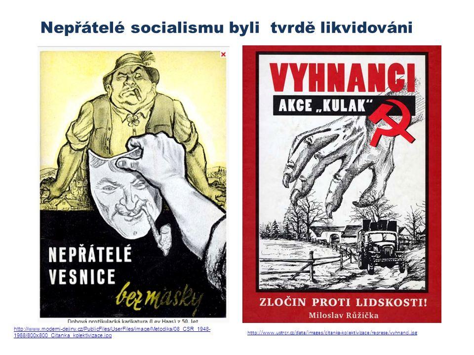 http://www.ustrcr.cz/data/images/citanka-kolektivizace/represe/vyhnanci.jpg Nepřátelé socialismu byli tvrdě likvidováni http://www.moderni-dejiny.cz/PublicFiles/UserFiles/image/Metodika/08_CSR_1948- 1968/800x800_Citanka_kolektivizace.jpg
