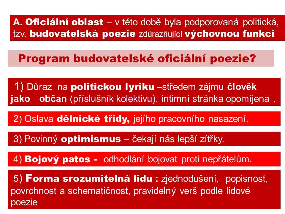 Program budovatelské oficiální poezie. 2) Oslava dělnické třídy, jejího pracovního nasazení.