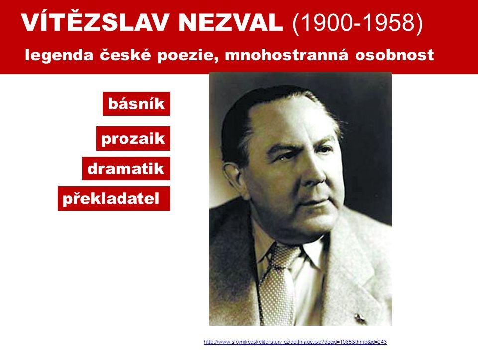 VÍTĚZSLAV NEZVAL (1900-1958) legenda české poezie, mnohostranná osobnost básník prozaik dramatik překladatel http://www.slovnikceskeliteratury.cz/getImage.jsp docid=1085&thmb&id=243