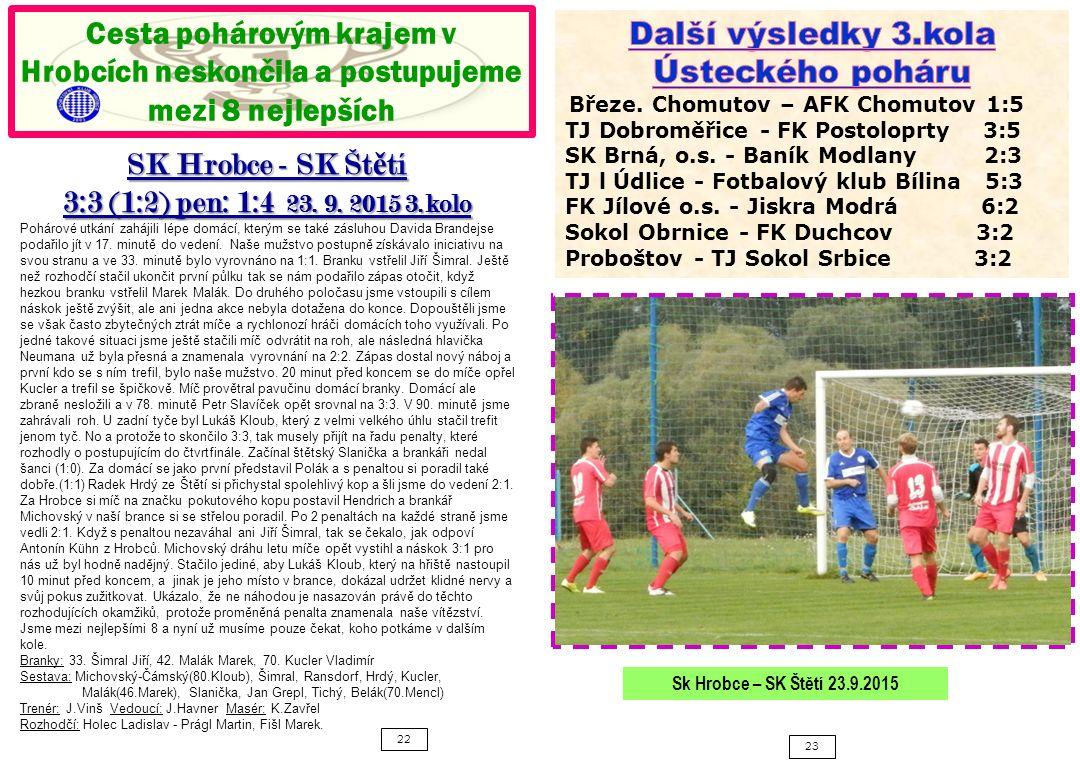 22 23 Cesta pohárovým krajem v Hrobcích neskončila a postupujeme mezi 8 nejlepších SK Hrobce - SK Št ě tí 3:3 (1:2) pen: 1:4 23.
