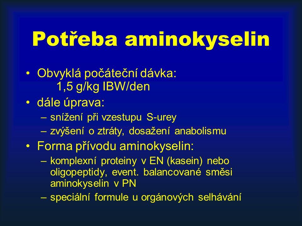 Potřeba aminokyselin Obvyklá počáteční dávka: 1,5 g/kg IBW/den dále úprava: –snížení při vzestupu S-urey –zvýšení o ztráty, dosažení anabolismu Forma přívodu aminokyselin: –komplexní proteiny v EN (kasein) nebo oligopeptidy, event.