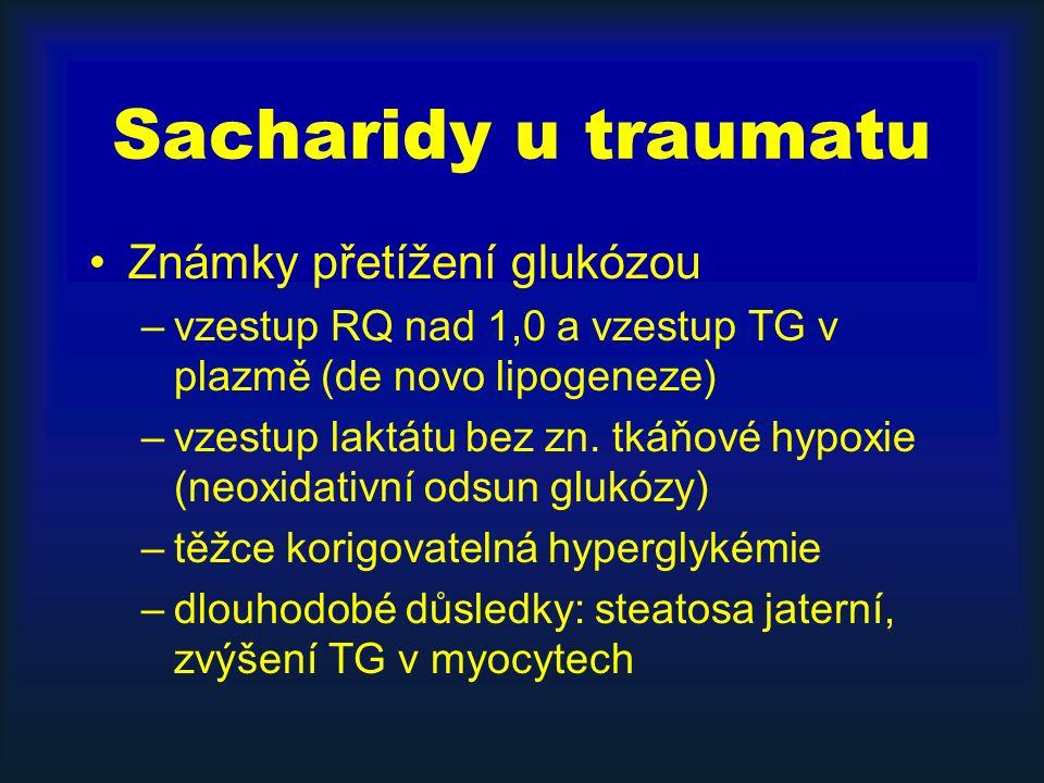 Sacharidy u traumatu Známky přetížení glukózou –vzestup RQ nad 1,0 a vzestup TG v plazmě (de novo lipogeneze) –vzestup laktátu bez zn. tkáňové hypoxie