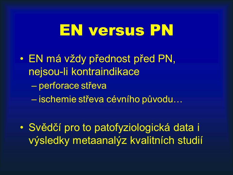 EN versus PN EN má vždy přednost před PN, nejsou-li kontraindikace –perforace střeva –ischemie střeva cévního původu… Svědčí pro to patofyziologická data i výsledky metaanalýz kvalitních studií