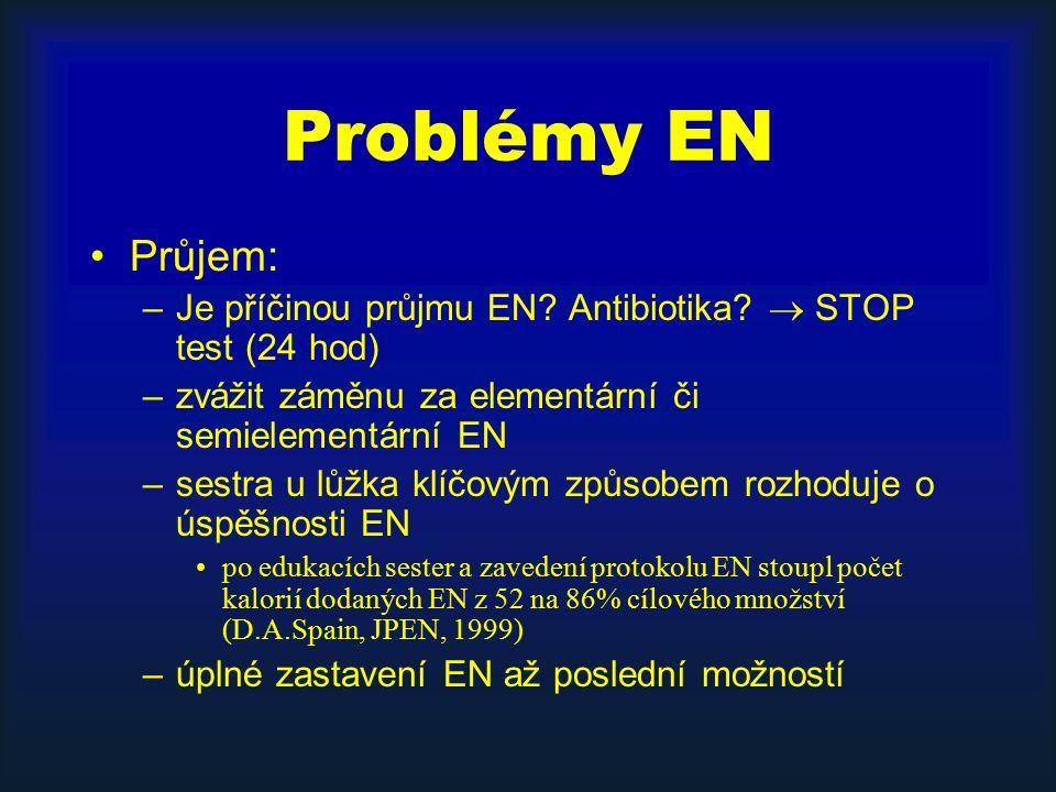Problémy EN Průjem: –Je příčinou průjmu EN? Antibiotika?  STOP test (24 hod) –zvážit záměnu za elementární či semielementární EN –sestra u lůžka klíč