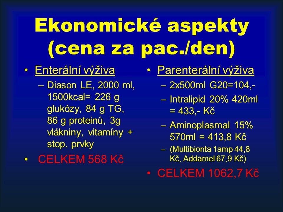 Ekonomické aspekty (cena za pac./den) Enterální výživa –Diason LE, 2000 ml, 1500kcal= 226 g glukózy, 84 g TG, 86 g proteinů, 3g vlákniny, vitamíny + s