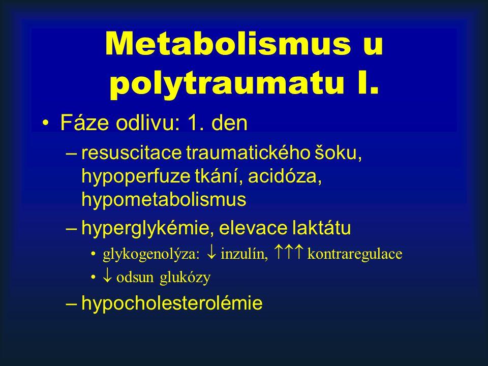 Metabolismus u polytraumatu I. Fáze odlivu: 1. den –resuscitace traumatického šoku, hypoperfuze tkání, acidóza, hypometabolismus –hyperglykémie, eleva