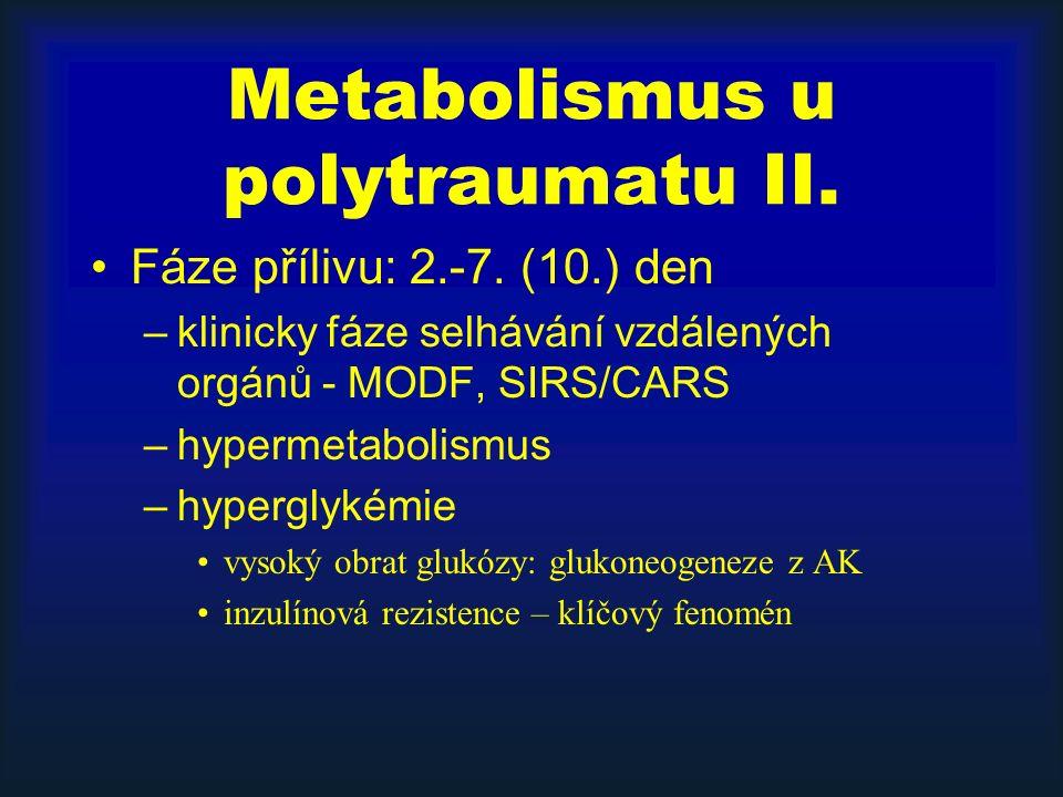 Metabolismus u polytraumatu II. Fáze přílivu: 2.-7. (10.) den –klinicky fáze selhávání vzdálených orgánů - MODF, SIRS/CARS –hypermetabolismus –hypergl