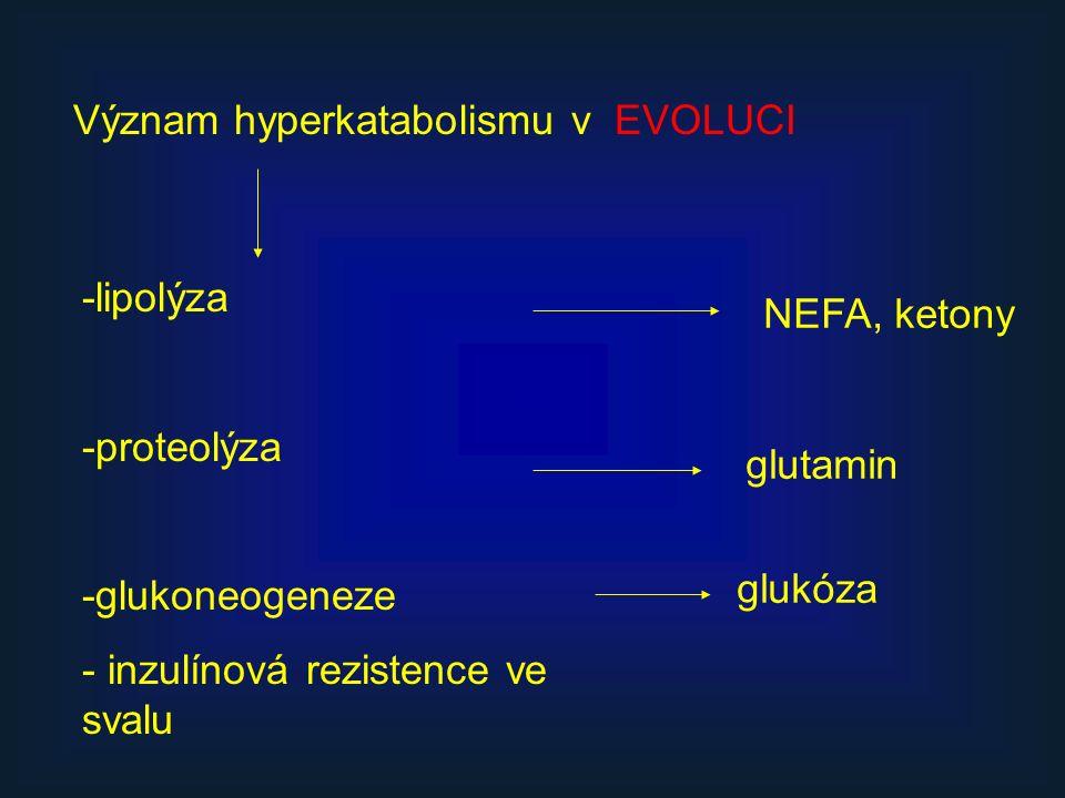 Význam hyperkatabolismu v EVOLUCI -lipolýza -proteolýza -glukoneogeneze - inzulínová rezistence ve svalu NEFA, ketony glukóza glutamin