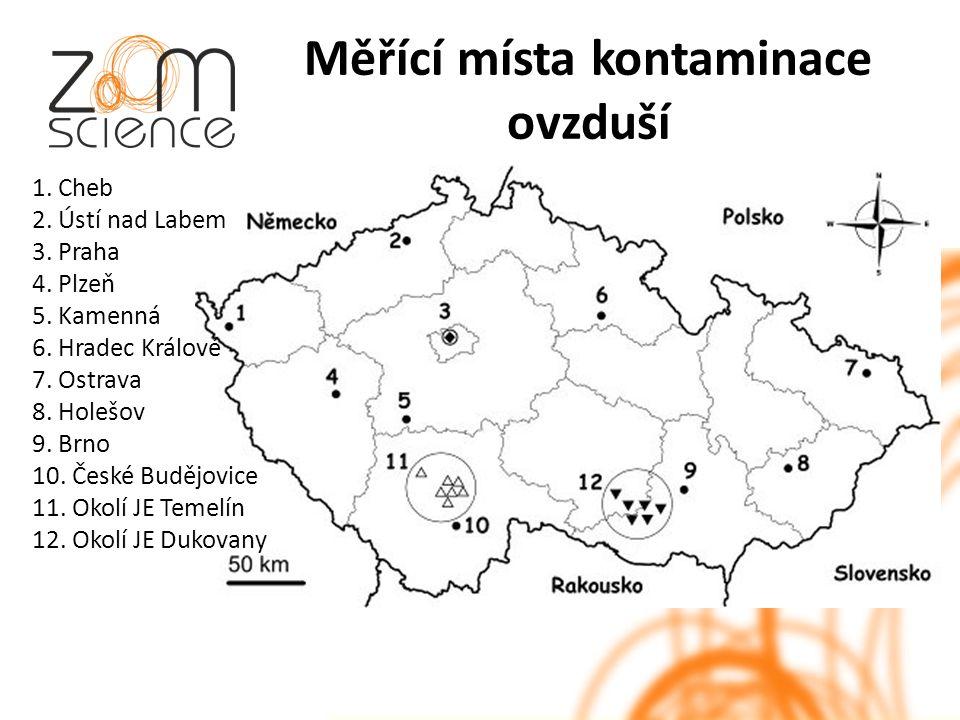Měřící místa kontaminace ovzduší 1. Cheb 2. Ústí nad Labem 3.