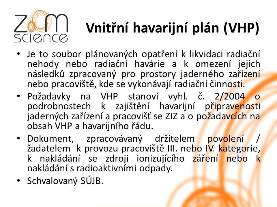 Vnitřní havarijní plán (VHP) Je to soubor plánovaných opatření k likvidaci radiační nehody nebo radiační havárie a k omezení jejich následků zpracovaný pro prostory jaderného zařízení nebo pracoviště, kde se vykonávají radiační činnosti.