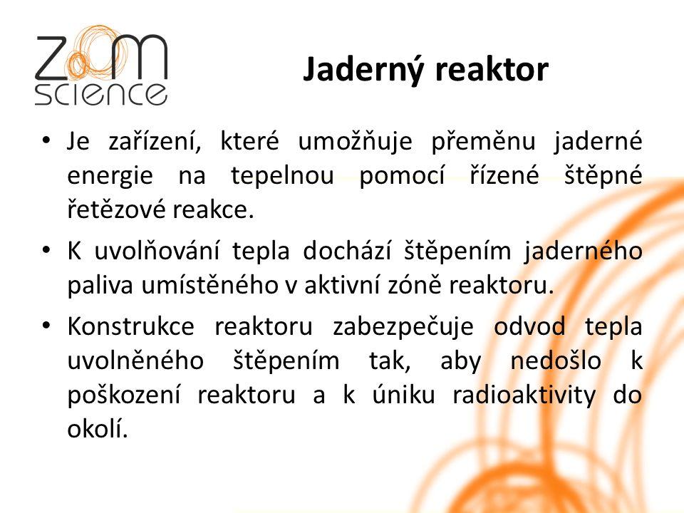 Jaderný reaktor Je zařízení, které umožňuje přeměnu jaderné energie na tepelnou pomocí řízené štěpné řetězové reakce.