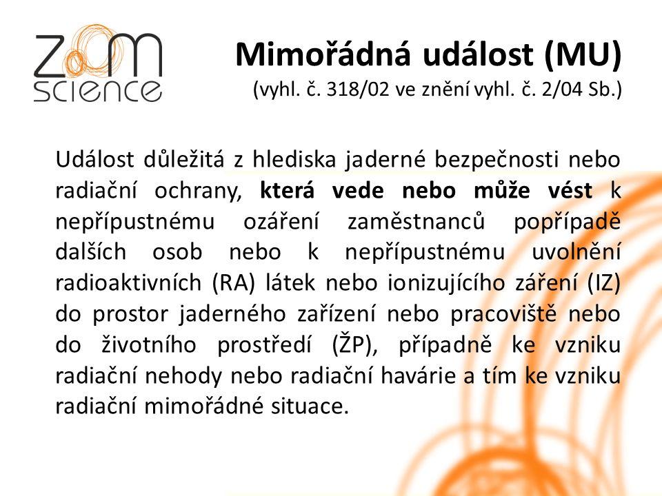 Mimořádná událost (MU) (vyhl. č. 318/02 ve znění vyhl.