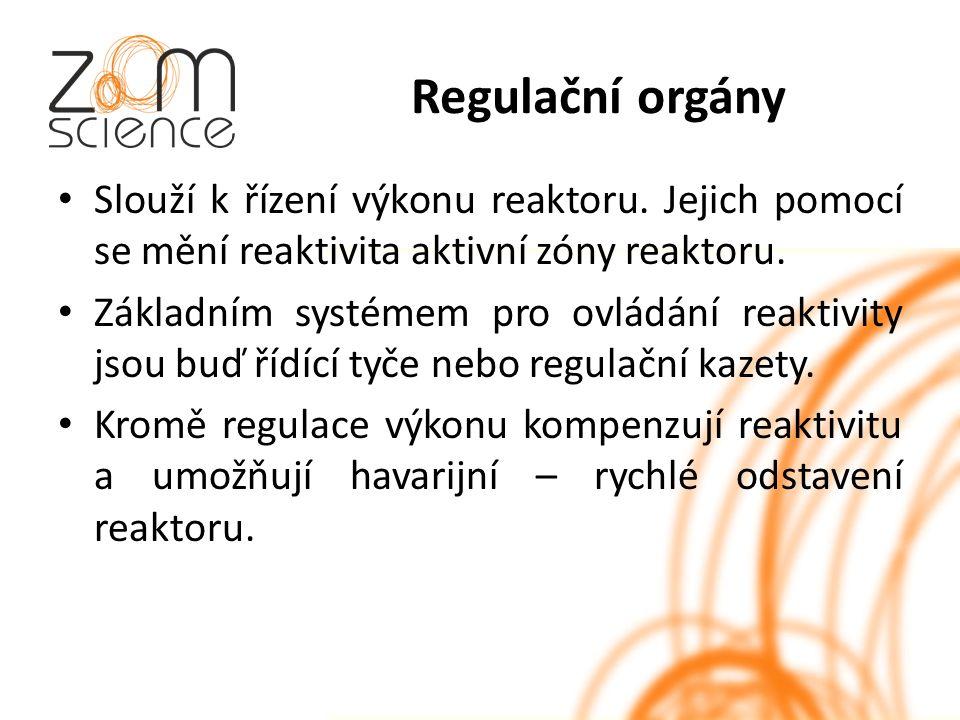 Regulační orgány Slouží k řízení výkonu reaktoru.