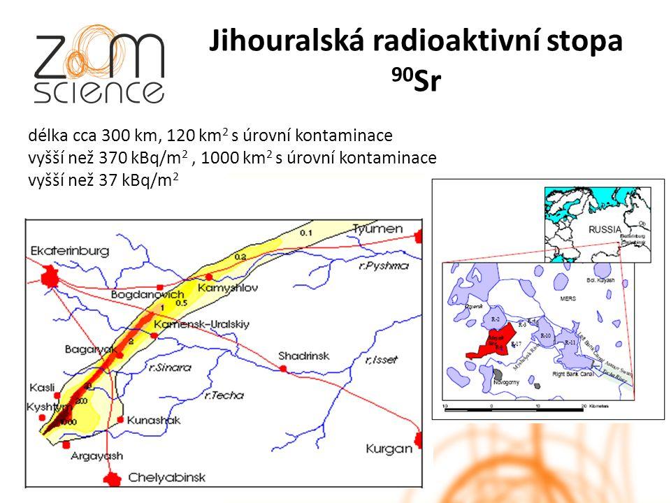 Jihouralská radioaktivní stopa 90 Sr délka cca 300 km, 120 km 2 s úrovní kontaminace vyšší než 370 kBq/m 2, 1000 km 2 s úrovní kontaminace vyšší než 37 kBq/m 2