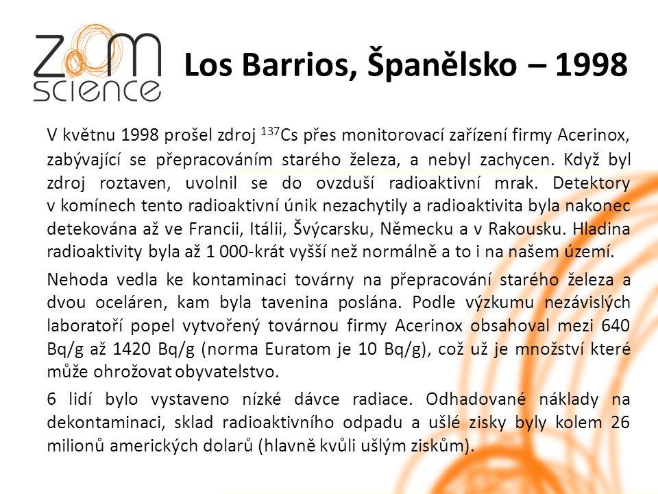 Los Barrios, Španělsko – 1998 V květnu 1998 prošel zdroj 137 Cs přes monitorovací zařízení firmy Acerinox, zabývající se přepracováním starého železa, a nebyl zachycen.